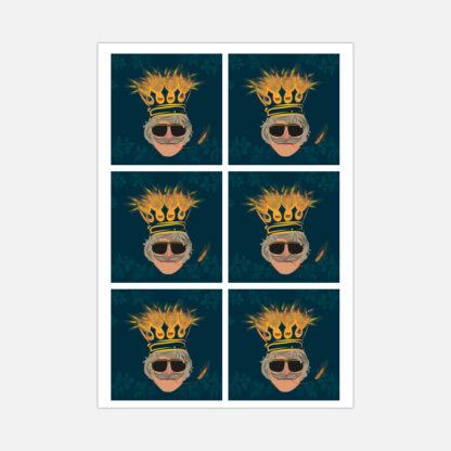 Król Żyta piwo - Naklejki vlepki kwadratowe na arkuszu